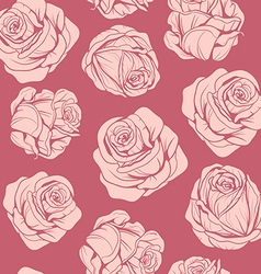 Pattern of flowers pink roses vector