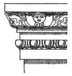 Pompeiian molding wood designs vintage engraving vector