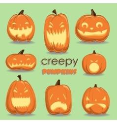Pumpkin set Halloween vector image