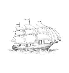Sailing ship on the ocean with fluttering sails vector