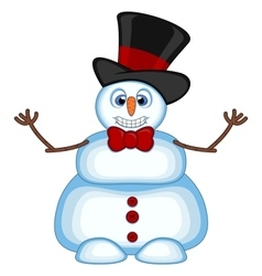 Snowman wearing a hat and bow ties waving his hand vector