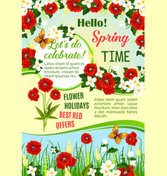 Spring sale special offer floral poster design vector