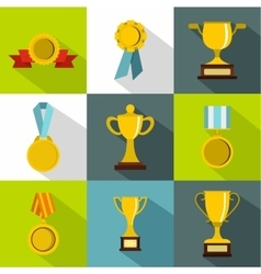 Victory icons set flat style vector image vector image