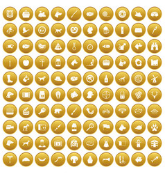 100 dog icons set gold vector
