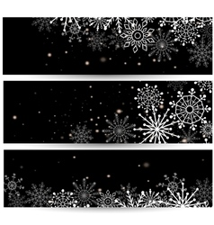 Set of web banners with snowflakes vector