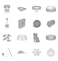 Cats accessories icons set monochrome style vector