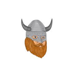 Viking warrior head three quarter view drawing vector