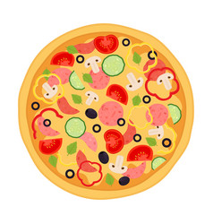Pizza with meat pepperoni tomato and vegetables vector