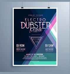 Electro music party event flyer template vector