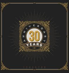 Vintage anniversary logo flourishes emblem vector