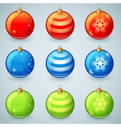 Christmas glass toy balls set isolated vector