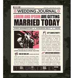 Newspaper style wedding invitation design template vector