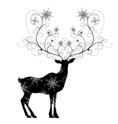 Deer with snowflakes horns vector