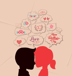 Love is share the same thoughts and valentines vector