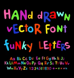 Hand-drawn alphabet funky letters font vector