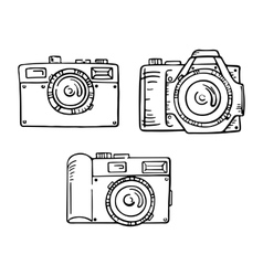 Set of doodle photo cameras hand draw vector