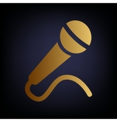 Microphone sign golden style icon vector