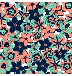 tropical color flowers seamless background vector image
