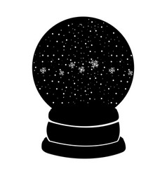Black icon christmas glass snow ball vector