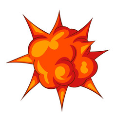 Blast with fire icon cartoon style vector