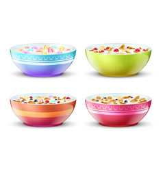 Bowls of breakfast with different milk cereal vector
