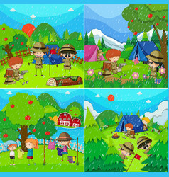 children in four different scenes with rainy vector image vector image