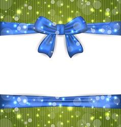 Christmas glowing card with ribbon bows vector image
