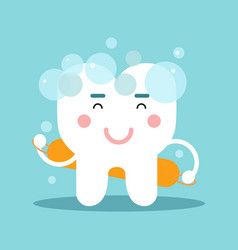 Cute cartoon tooth character washing himself vector