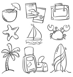 doodle of object summer holiday vector image vector image