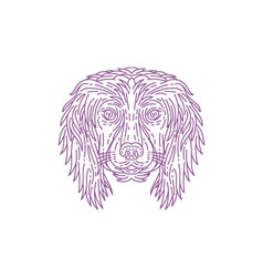 English cocker spaniel dog head mono line vector