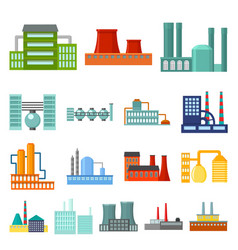 Factory and facilities cartoon icons in set vector