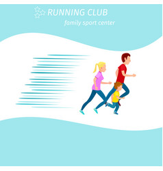 Family sport center running club health program vector