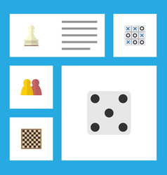 Flat icon play set of people xo chess table and vector