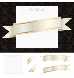 frame with gold ribbon vector image vector image