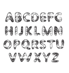 Hand drawn and sketched classic font vector image vector image