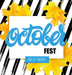 Hand drawn oktoberfest lettering label with leaves vector