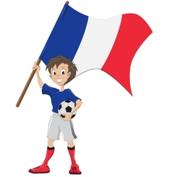 Happy soccer fan holds france flag vector