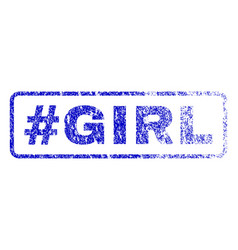 Hashtag girl rubber stamp vector