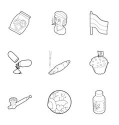 Hemp icons set outline style vector