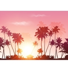 palms silhouettes at pink sunset sky vector image