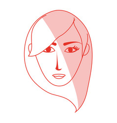 Red silhouette shading cartoon front face woman vector