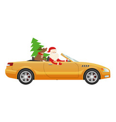 Santa claus drive on cute luxury car with reindeer vector