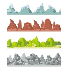 Seamless mountains set in cartoon style vector image vector image