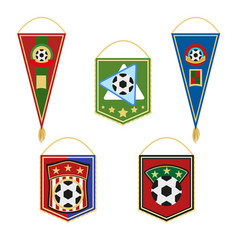Soccer pennants set football flag emblem vector