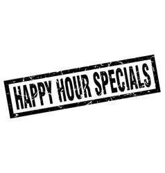 Square grunge black happy hour specials stamp vector