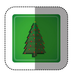Sticker colorful square frame with christmas tree vector