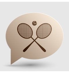 Tennis racket sign brown gradient icon on bubble vector