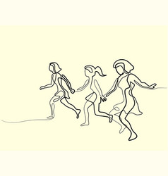 Three runners - continuous line drawing vector