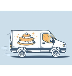 Van free and fast delivering cake to cust vector