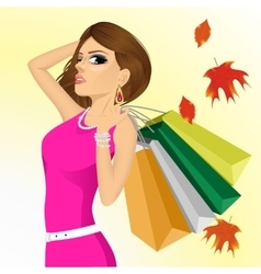 young haughty woman with shopping bags vector image vector image